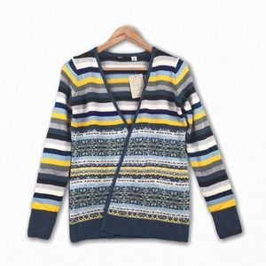 BDG Urban Outfitters Striped Cardigan Sweater Blue